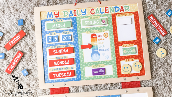 Calendar activity for small children -- Melissa and Doug calendar for homeschooling a 2 year old
