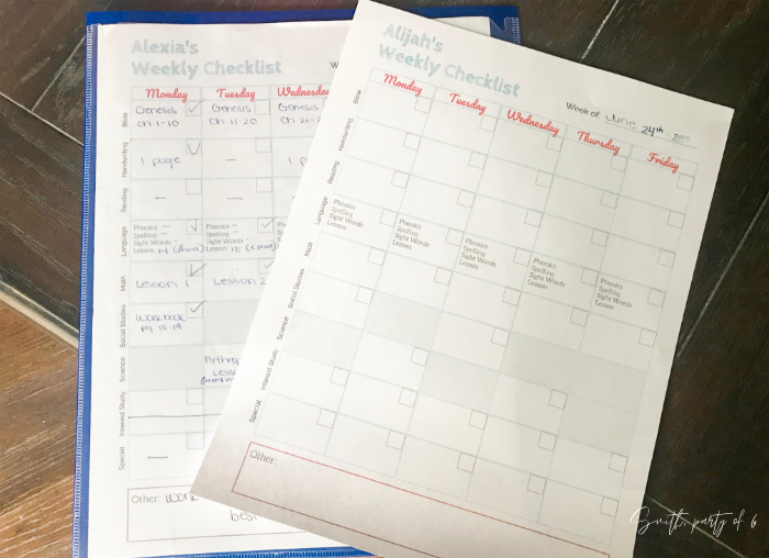 Our homeschool daily checklists