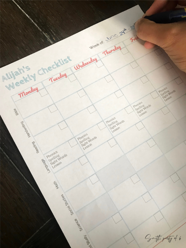 Filling out the homeschool assignment checklist